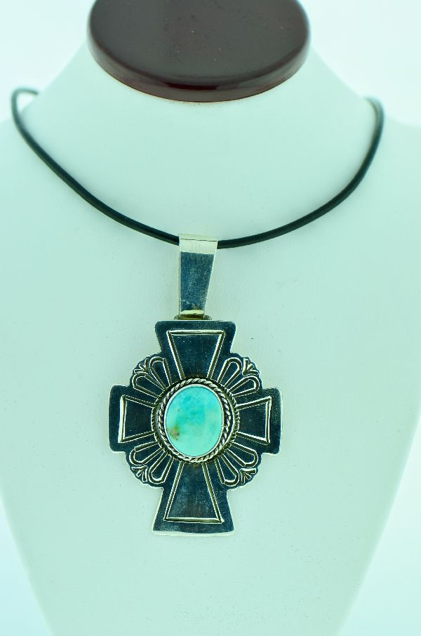 Navajo – Sterling Silver Royston Turquoise Cross