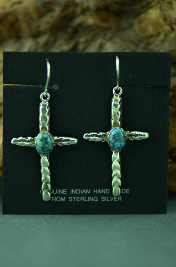 Navajo – Sterling Silver Spiderweb Turquoise Cross Earrings