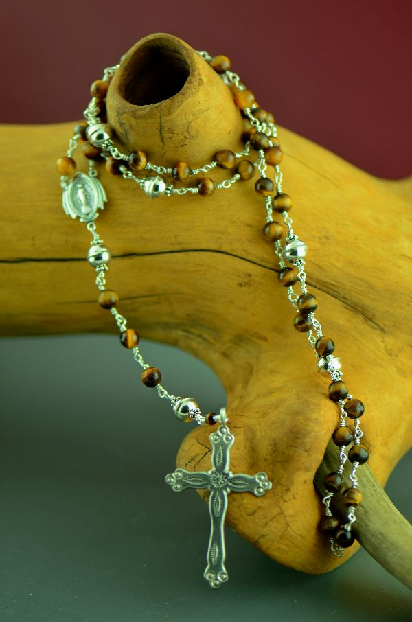 Navajo � Elegant Sterling Silver Wrapped Tiger Eye Rosary