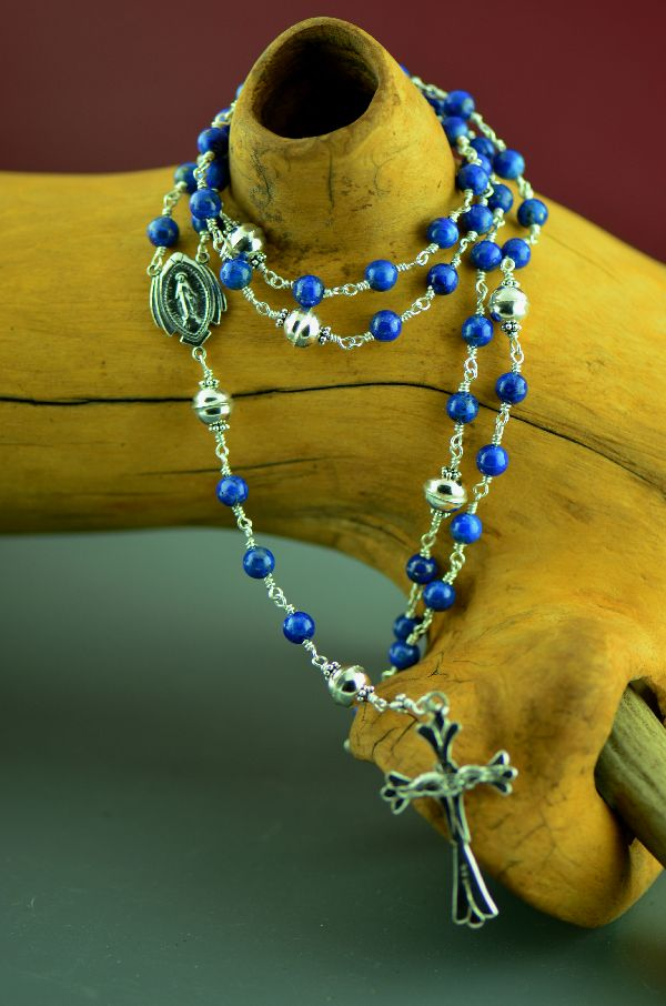 Navajo – Elegant Sterling Silver Wrapped Lapis Rosary