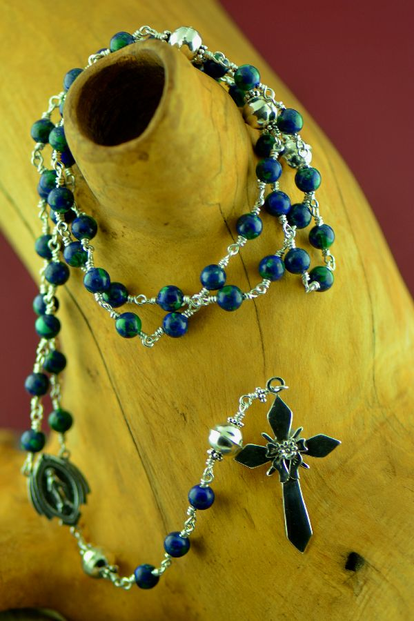 Navajo – Elegant Sterling Silver Wrapped Azurite Rosary