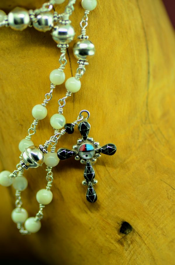 Zuni Elegant Sterling Silver Wrapped Mother of Pearl and Inlaid Turquoise, Coral, Jet and Mother of Pearl Cross Rosary by Pearl Niiha and Archi Valdez