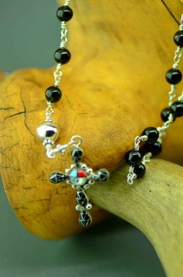Zuni – Elegant Sterling Silver Wrapped Black Onyx and Inlaid Turquoise, Coral, Jet and Mother of Pearl Cross Rosary by Pearl Niiha and Archi Valdez
