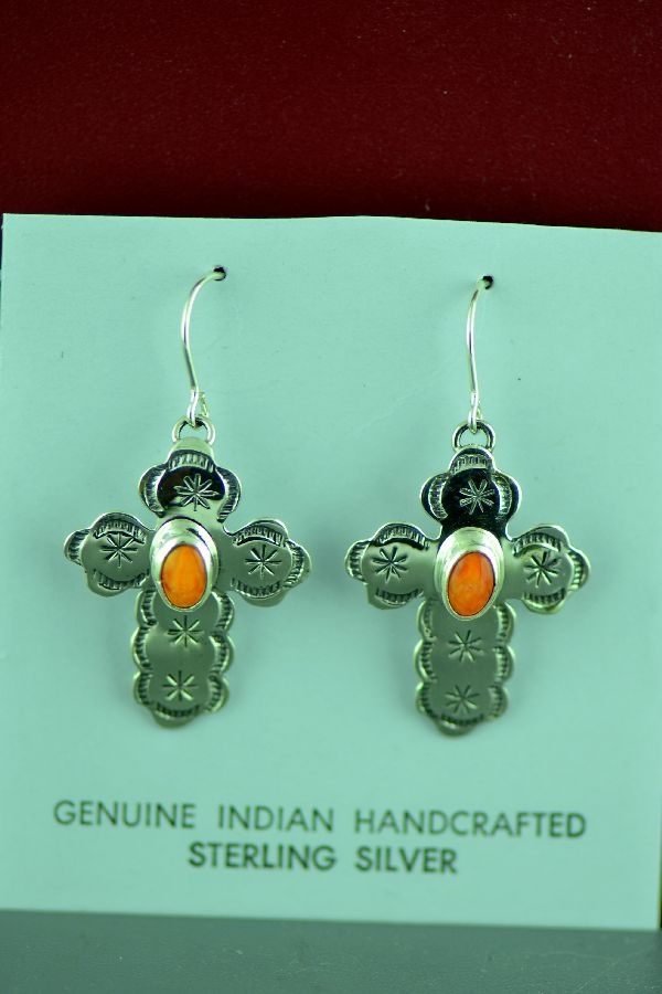 Navajo Sterling Silver Spiny Oyster Shell Cross Earrings by Rita Hemistry