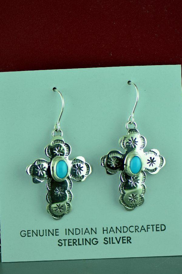 Navajo Sterling Silver Sleeping Beauty Turquoise Cross Earrings by Rita Hemistry