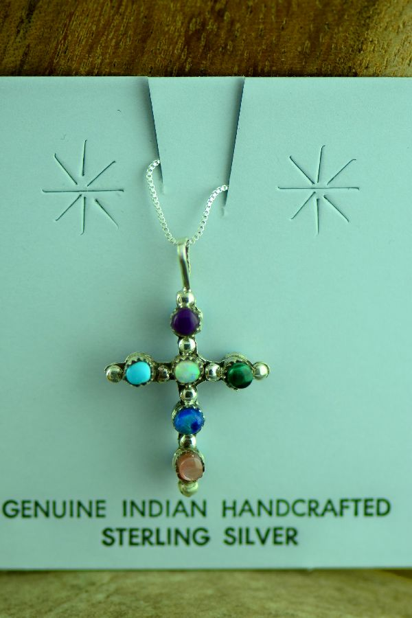 Zuni Sterling Silver Petite Point Turquoise, Pink Mother of Pearl, Malachite, Lapis, Purple Onyx and Lab Opal Reversible Cross Pendant