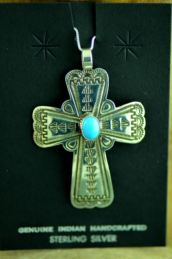 Navajo Sterling Silver Sleeping Beauty Turquoise Cross Pendant by Arnold Blackgoat