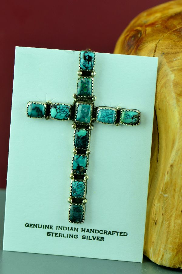 Navajo - Spider Web China Mountain Turquoise Cross