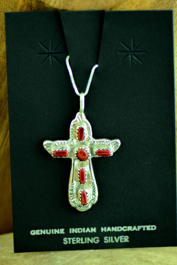 Navajo Sterling Silver Natural Mediterranean Coral Cross by Cecilia Iule