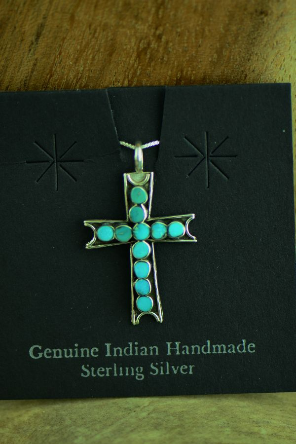 Zuni Sterling Silver Channel Inlaid Sleeping Beauty Turquoise Cross Pendant