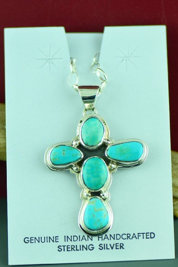 Navajo Sterling Silver Pilot Turquoise Cross Pendant by Sampson Jake
