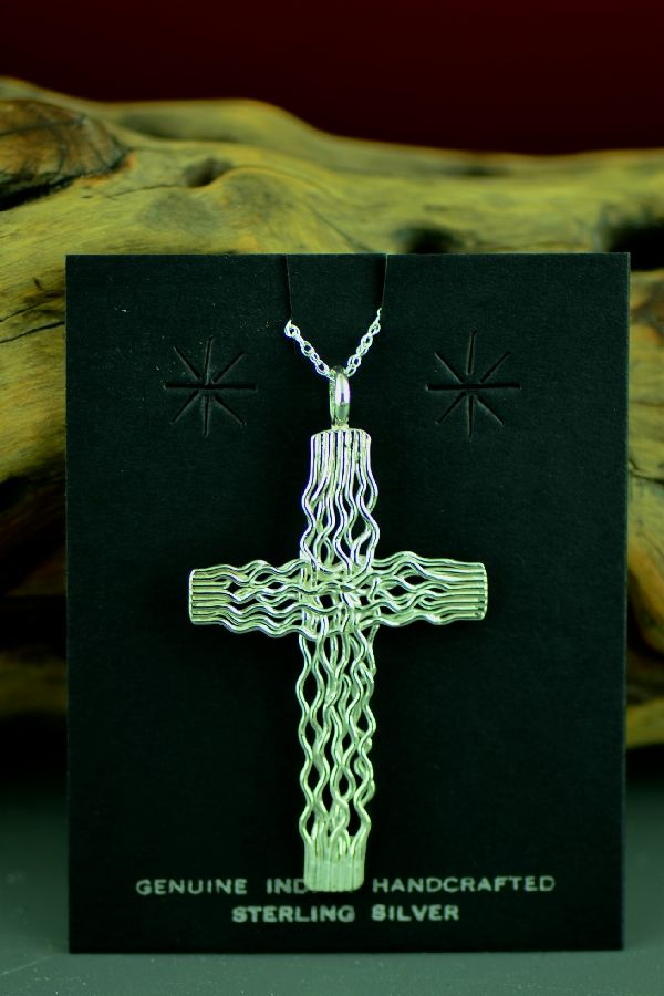 Navajo Sterling Silver Wire Branch Cross by Angela Martin