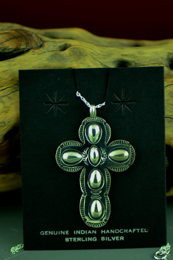 Navajo Sterling Silver Cross Pendant by Jo White