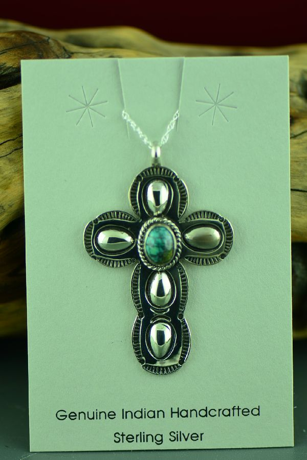 Navajo Sterling Silver Spiderweb Turquoise Cross Pendant by Jo White