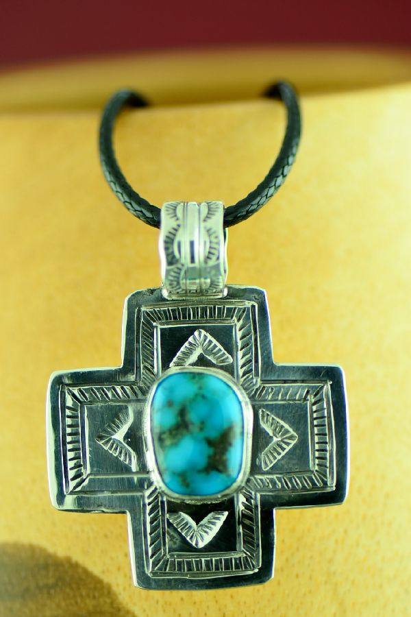Navajo – Sterling Silver Bisbee Turquoise Cross by Will Denetdale