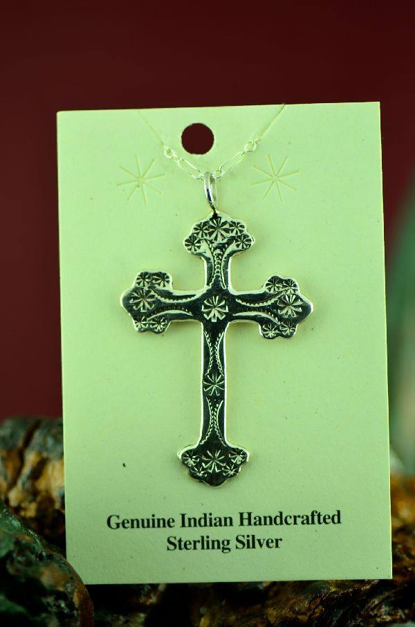 American Indian Hand Stamped Sterling Silver Cross Pendant
