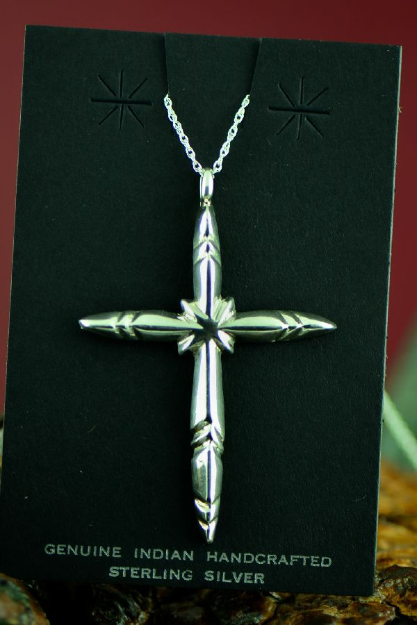 Navajo Sterling Silver Cross Pendant by F.L. Begay
