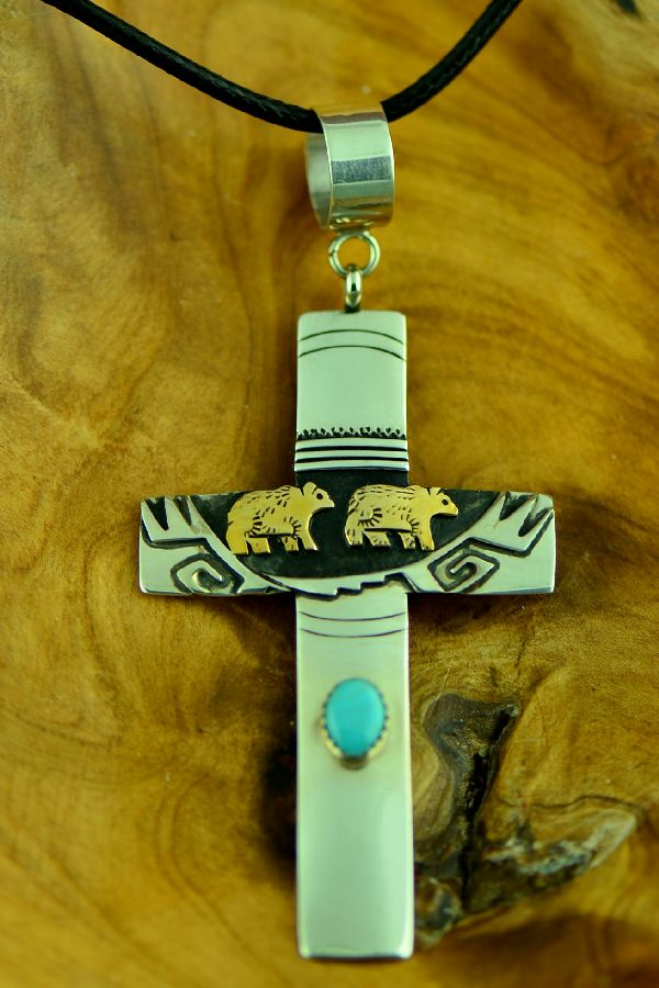 Navajo Sterling Silver and Gold- Craft Bear Cross Pendant by Rosita Singer