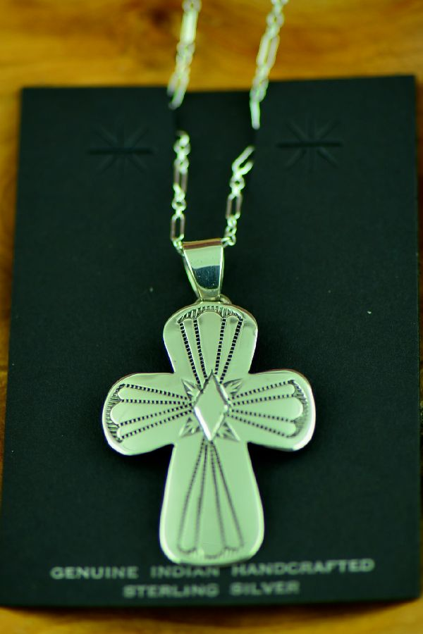 Navajo Hand Stamped Sterling Silver Cross Pendant by J. Piaso, Jr.