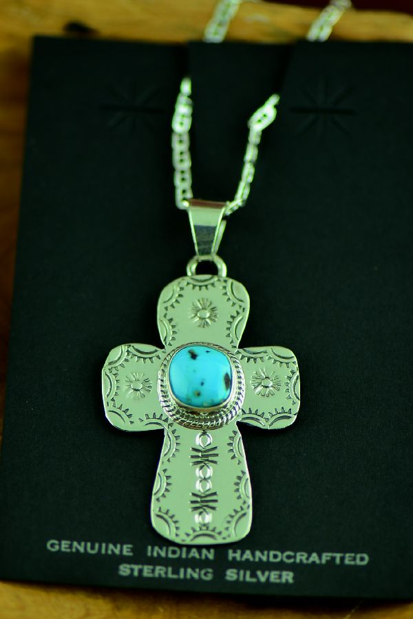 Navajo Sleeping Beauty Turquoise Cross Pendant by Berna Francisco