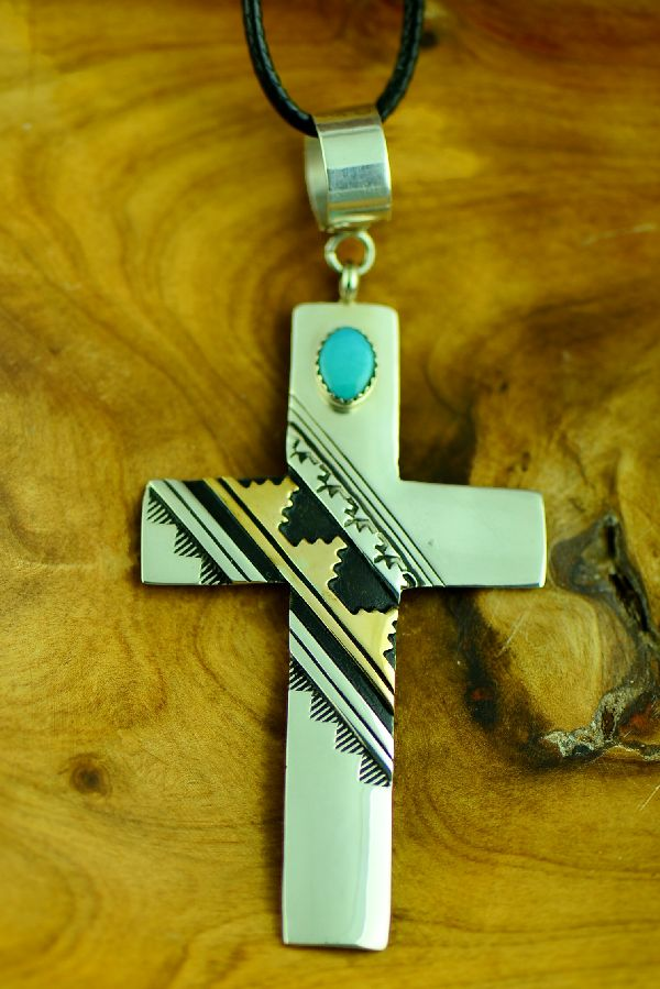 Rosita Singer Sterling Silver and Gold Cross Pendant with Kingman Turquoise