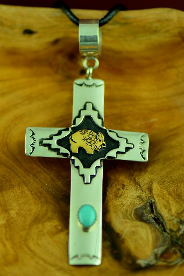Navajo Kingman Turquoise Sterling and Gold Cross Buffalo Cross Pendant by Rosita Singer