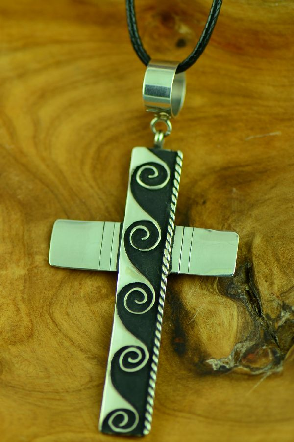 Navajo Sterling Silver Cross with Water Symbol by Rosita Singer