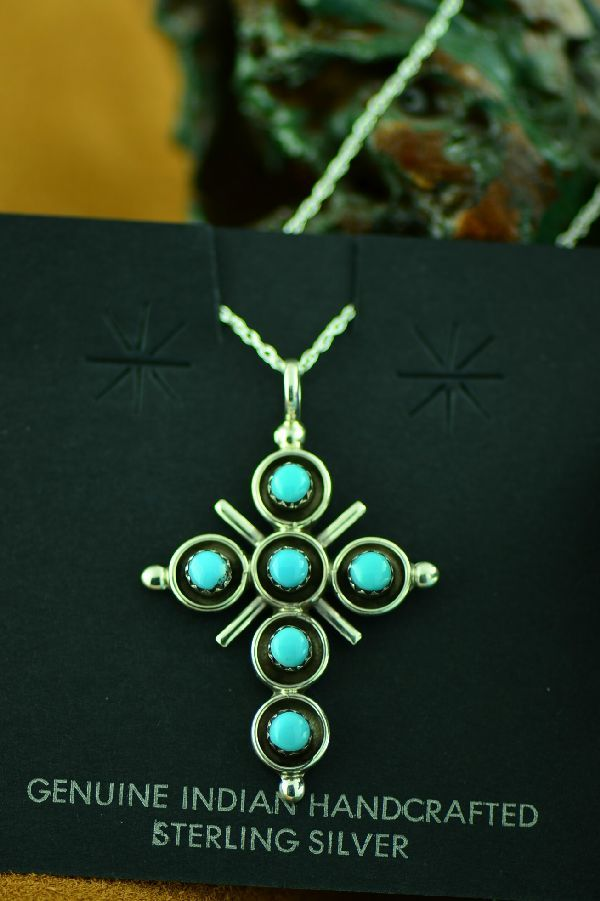 Terry Dishta Zuni Sleeping Beauty Turquoise Cross Pendant