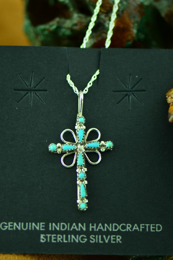 Zuni Turquoise Cross Pendant by Regina Martinez