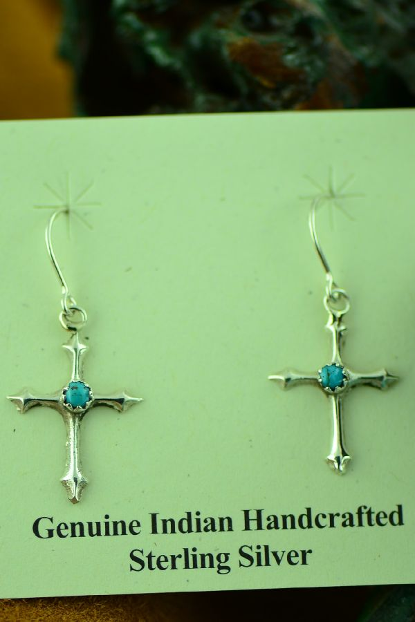 Navajo Petite Point Turquoise Cross Earrings