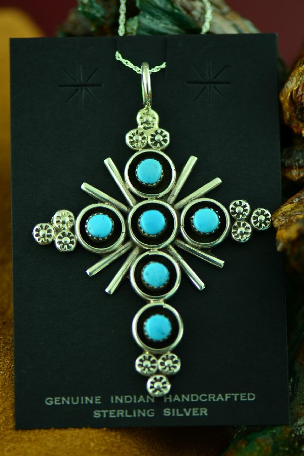 Zuni Sleeping Beauty Turquoise Cross Pendant by Terry Dishta