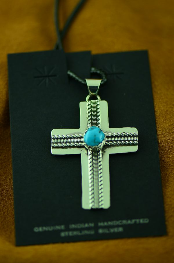 Navajo Sleeping Beauty Turquoise Cross Pendant by Anthony Singer