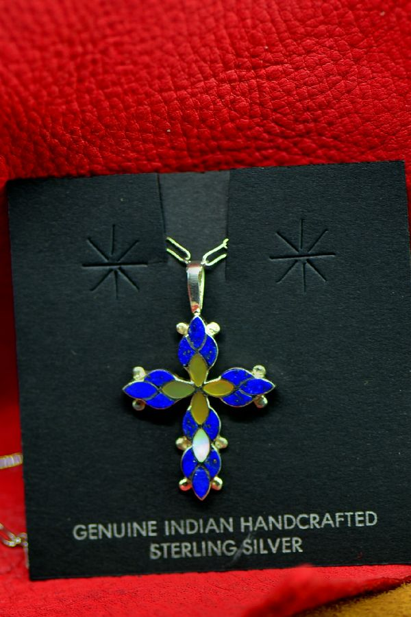 Zuni Lapis and Mother of Pearl Inlaid Cross Pendant by Ferdinand and Sylvia Hooee