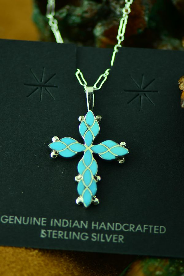 Ferdinand and Sylvia Hooee Zuni Inlaid Turquoise Cross