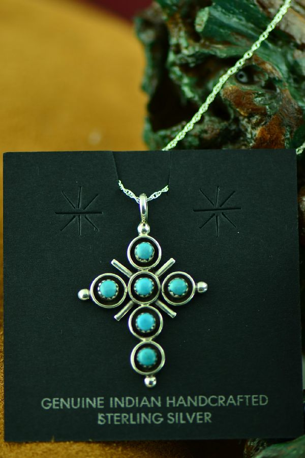 Zuni Artist Terry Dishta Turquoise Cross Pendant