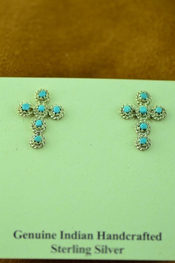 Zuni Bernal Natewa Sterling Silver Turquoise Cross Earrings