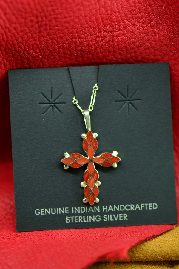 Zuni Red Spiny Oyster Shell Inlaid Cross Pendant by Ferdinand and Sylvia Hooee