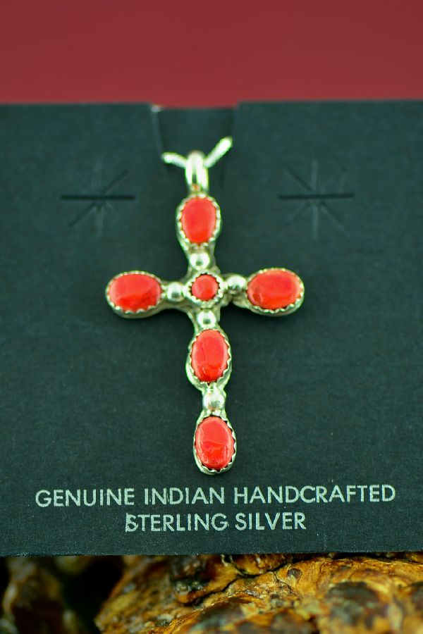 Navajo Sterling Silver Red Spiny Oyster Cross by Lucy Cayatineto