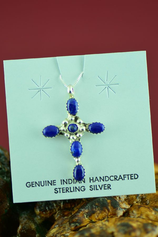 Navajo Sterling Silver Lapis Cross by Lucy Cayatineto