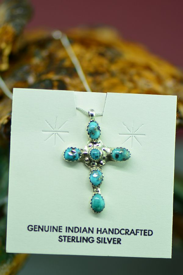 Navajo Sleeping Beauty Turquoise Cross by Lucy Cayatineto