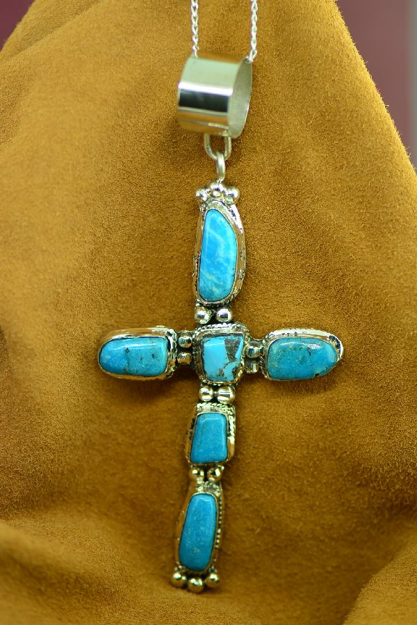 Large Navajo Sterling Silver Sleeping Beauty Turquoise Cross by Lucy Cayatineto