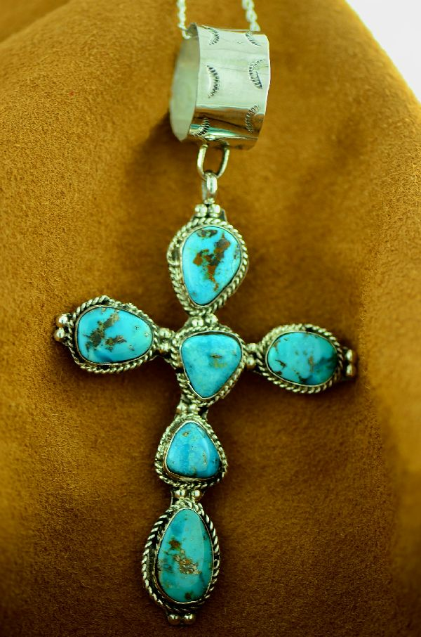 Large Native American Sleeping Beauty Turquoise Cross by Lucy Cayatineto