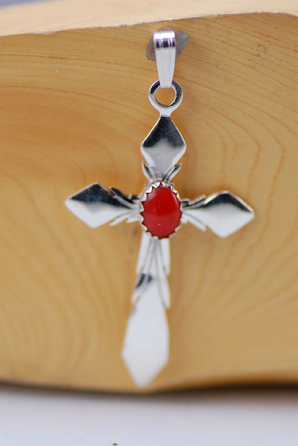 Navajo – Sterling Silver Natural Mediterranean Coral Cross by Fritson Toledo and Les Baker