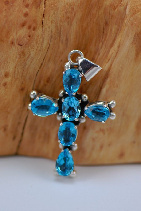 Blue Topaz and Sterling Silver Cross by Les Baker