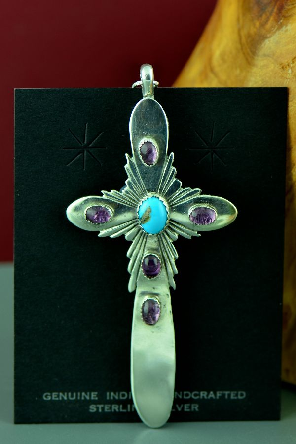 Navajo Amethyst and Turquoise Cross