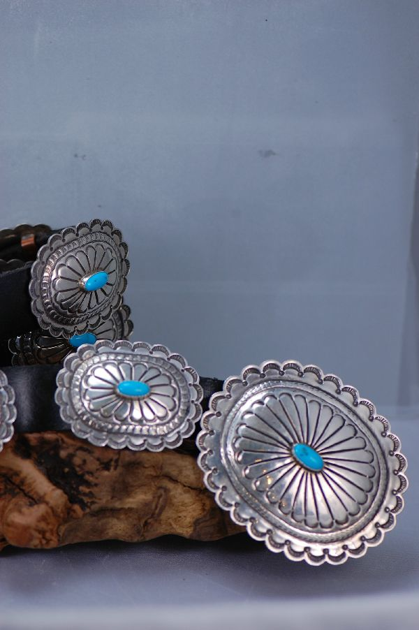 Navajo – Magnificent Sterling Silver Sleeping Beauty Turquoise Concho Belt by Lucy Cayatineto