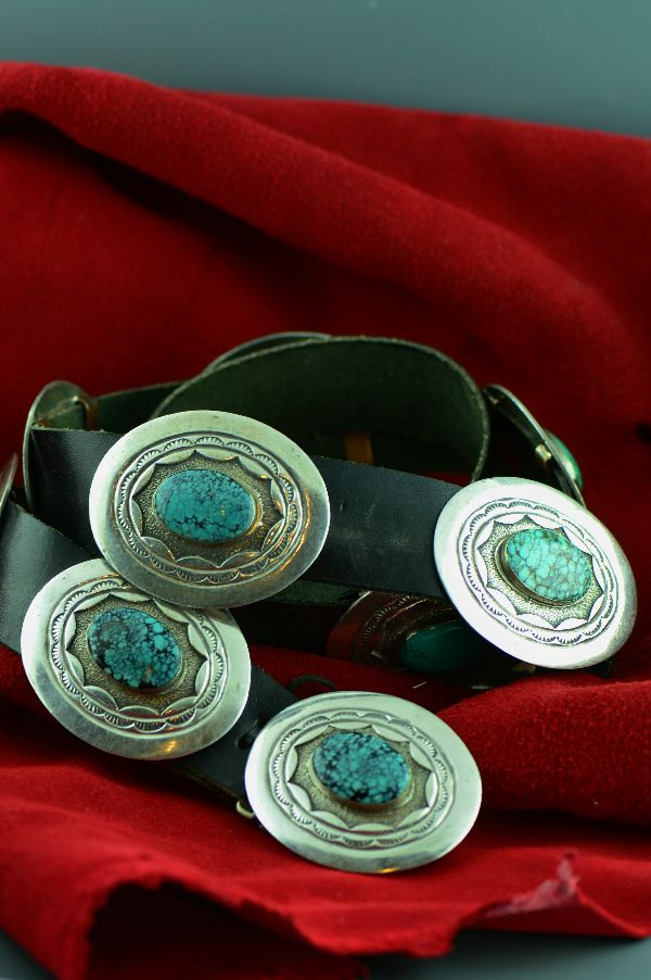Navajo – Vintage Sterling Silver China Mountain Turquoise Concho Belt by Mabel Kee (Private Collection)