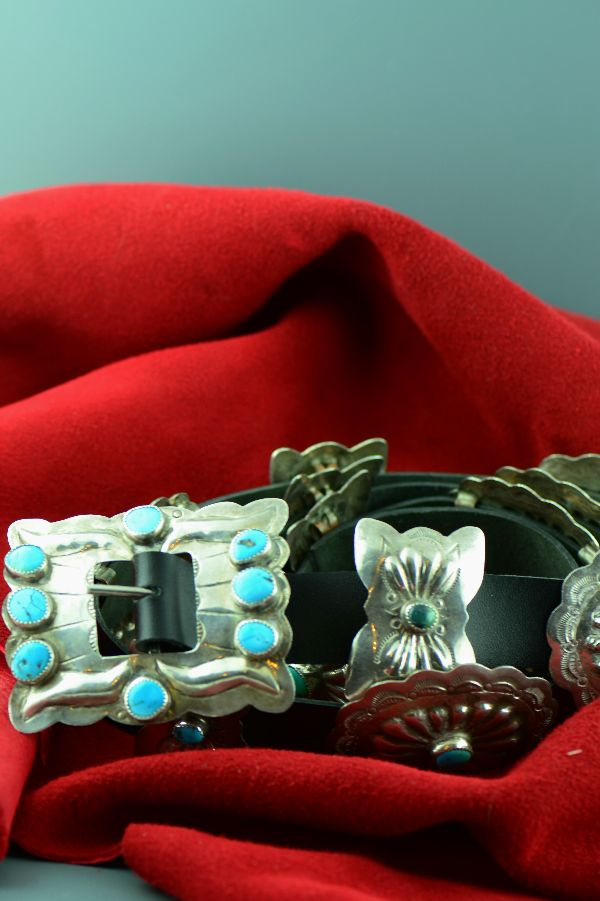 Navajo – Vintage Sterling Silver Sleeping Beauty Turquoise Concho Belt (Private Collection)