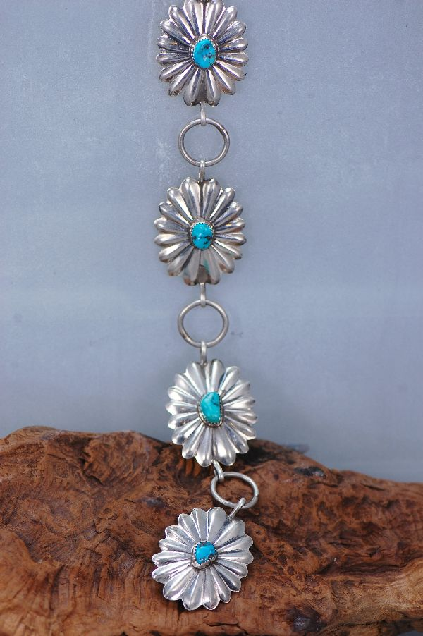 Navajo - Sterling Silver Link Concho Belt with Kingman Turquoise