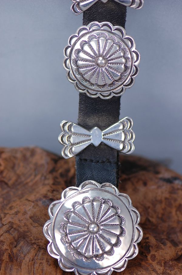 Sterling Silver Cast Concho Belt